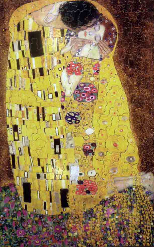 Gustav Klimt's Painting The Kiss 1000 Piece Jigsaw Puzzle made by Trefl Puzzles item number 102918 kiss-gustav-klimt