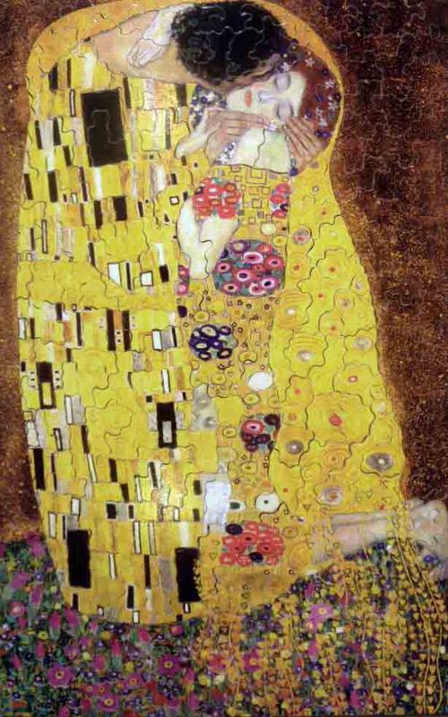 Gustav Klimt's Painting The Kiss 1000 Piece Jigsaw Puzzle made by Trefl Puzzles item number 102918 kiss-gustav-klimt
