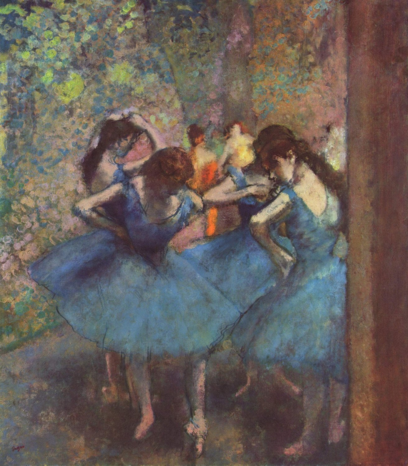 Trefl Jigsaw Puzzle 1000 Pieces by Hilaire Germain Edgar Degas of his Dancers in Blue painting dancers-in-blue