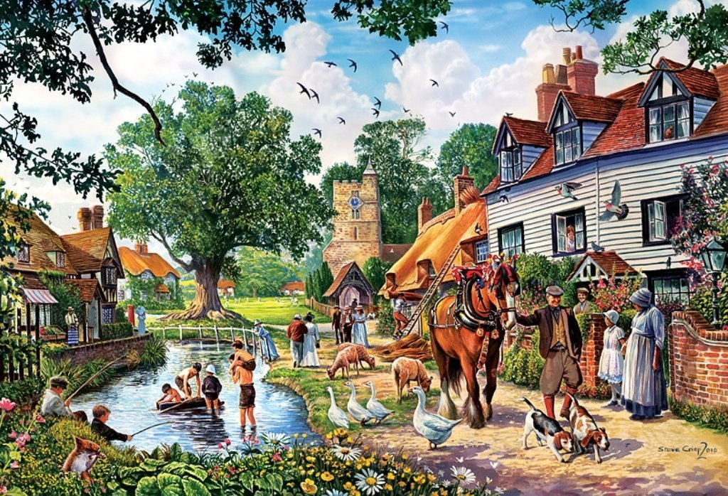idyllic lakeside Ravensburger 1000 Panoramic Piece Jigsaw Jungle Puzzle david noton photograph country-idyll