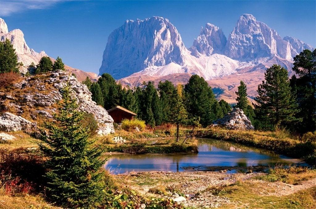 italy dolomite mountain range in autumn photo for ravensburger 2000 piece jigsaw puzzel lake-in--dolomites