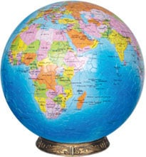 1500 piece 3 dimensional jigsaw puzzle of the blue marble earth 15 inch in diameter includes base to blue-marble-earth-globe-jigsaw-puzzle-3d