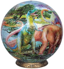 dinosaur jurassic age globe puzzle depicting dinosaurs of the jurasic period 3d selfsuport jurassicageglobe9