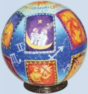 3 dimensional jigsaw puzzle by unicorn depicting stars of the zodiac on a roung globe shaped ball 3d-puzzle-stars-of-the-zodiac-globe-shaped-puzzel