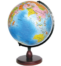 3 dimensional jigsaw puzzle of earthglobe 9 inch diameter with stand to turn globe bluemarbleearthglobe9withstand