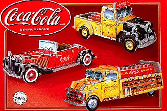 coca cola vintage vehicles, 3 cars in 1 from coca cola, vintage vehicles, 3d-puzzle-coca-cola-vintage-vehicles