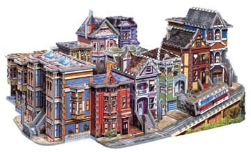 san francisco street scene 3d puzzle by wrebbit, 3dimensional puzzle with 1512 pieces, frisco tramwa sanfrancisco