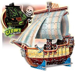3d puzles, pirate ship puzzle, glow in the dark, bateau pirate, wrebbit 3dpuzzles, puzz3d, 358pieces pirateship