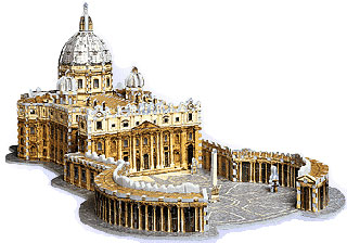 3d puzzle of st.peter basilica rome, vatican jigsaw puzzles, wrebbit puzz3d, 966 pieces, large puzzl stpetersbasilica