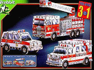 ambulance police jeep fire truck jigsaw puzzle, all in one rescue vehicle 3d puzzles by wrebbit, 226 rescuevehiclestripack