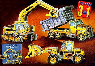 wrebbit puzz3d of three construction vehicles, dump truck crane bulldozer, 247 pieces for this rare constructionvehiclestripack