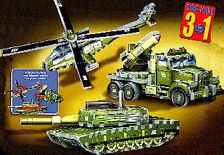 3d jigsaw puzzles by wrebbitt of military vehicles, rocket launcher tank helicopter, 248 pieces militaryvehiclestripack
