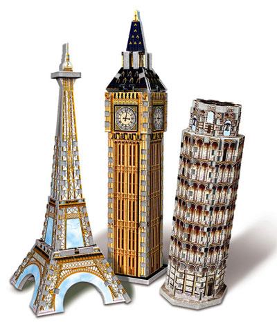 european landmarks tri-pack 3d jigsaw puzzles by wrebbit, puzz3d eiffel tower, big ben, leaning towe europeanlandmarkstripack