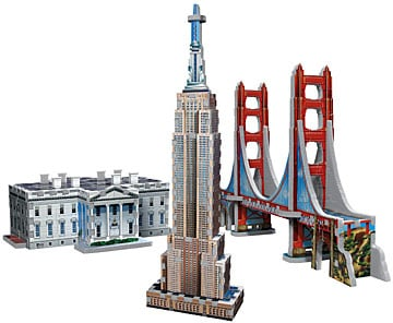 usa landmarks trip-pack, 3 in 1 jigsaw 3d puzzles, washington white house, golden gate bridge, empir usalandmarkstripack