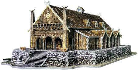 golden hall 3d puzzle, lord of the rings jigsaw puzzles 742 pieces, wrebbitt puzzles goldenhall