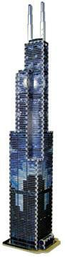 puzz3d sears tower, chicago skyscraper jigsaw puzzle, 3d wrebbitt puzzle sears tower, glow in the da searstowerglowinthedark