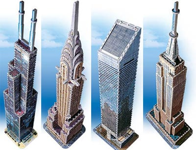glow in the dark skyscraper 3d puzzles, chrysler building puzzle, sears tower, empire state building glowinthedarkskyscraperseries
