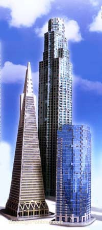 west coast tri 3d puzzles by wrebbit, us bank tower, sunamerica center, transamerica pyramid, jigsaw westcoasttrioglowinthedark