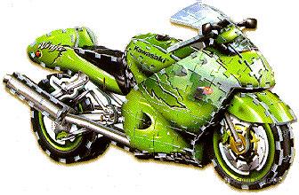 jigsaw puzzle of a motorbike, kawasaki ninja jigsaw puzzle 3d puzz3d, 313 pieces kawasakininja