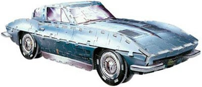 wrebbitt 3d puzzle of corvette sting ray 1963, classic cars jigsaw puzzles by wrebbit, 300 pieces ex corvettestingray1963