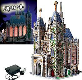 thomas kinkade 3dpuzzles, wrebbitt puzzles, lighted church, puzz3d, light module included, art by th lightedchurch
