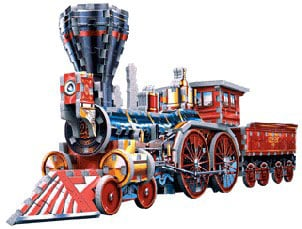 jigsaw puzzle of a locomotive engine, 367 pieces, wrebbit puzz3d locomotive locomotive3djigsawpuzzle