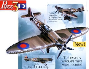 puzz3d supermarine spitfire, over 2 feet long three dimensional puzzle, wrebbit puzzles, 735 pieces, spitfire