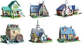thomaskinkade village series, all 6 kinkade 3d puzzles, wrebbitt puzz3d, kinkade village, 3d puzzles thomaskinkadevillageseries