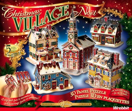 christmas village puzzles, 5 models of houses, christmas scene puzz3d wrebbit christmasvillage