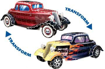 reversible double-sided car, classic coupe to hot rod, puzz3d by wrebbit, 751 pieces, difficult reversiblecar