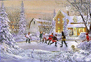 2d foam jigsaw puzzle of a winter scene, boys play hockey, 1000 pieces puzzle, wrebbit perfalock originalsix