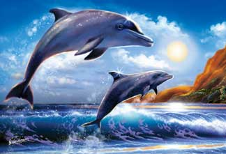 foam backed wrebbit prefalock jigsaw puzzle dolphins at sunrise stevesundram artist paiting flat-2d-jigsaw-puzzle-blue-sky-breach