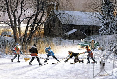 jigsaw puzzle by wrebbit, 1000 pieces, winter hockey scene, saturday night painting, laird saturdaynight