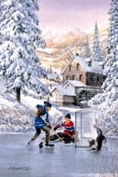 rilvary, painting by laird, 1000 pieces, perfalock jigsaw puzzle, hockey scene in winter rivalry