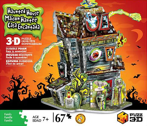 3-dimensional puzzles by wrebbit, haunted house, 3d jisaw puzzles, mint condition puzz3d haunted-house