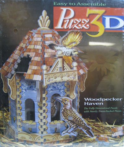 Puzz3D Woodpecker Haven 3 dimensional jigsaw puzzle wrebit milton bradley hasbro working birdhouse e 3d-puzzle-woodpecker-haven