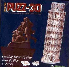 tower of pisa, mini puzzle, puzz-3d, tour de pise, 64 pieces, rare puzzle wrebbit leaningtowerofpisa