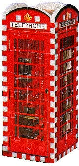 telephone booth, rare 3d mini puzzle, wrebbit, 77 pieces jigsaw 3d puzzle telephonebooth