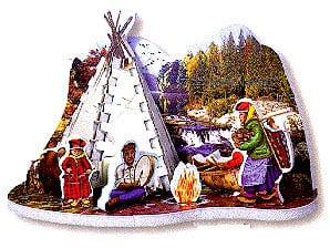 teepee jigsaw puzzle, 3d mini puzzle, wrebbit mini series, 77 pieces, indian family scene teepee