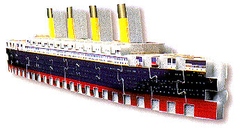 jigsaw puzzle manufactured by wrebbit depicting the famous vessel titanic, easy 56 pieces titanicmini3dpuzzle