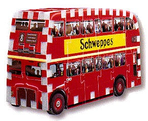 a 3d jigsaw puzzle of a london bus, double decker bus jigsaw 3d puzzle, wrebbit puzz3d doubledeckerbus