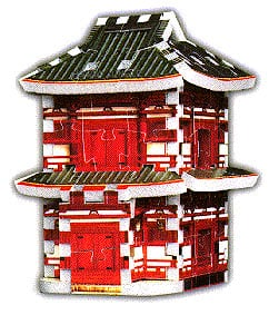 a 3d mini puzzle of a japanese pagoda, wrebbit puzz3d mini, 78 pieces, mini puzz japanesepagoda