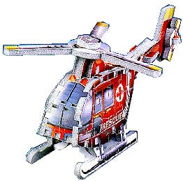 mini puzzle 3d helicopter, 76 pieces, rare mini puzzle, wrebbit helicopter