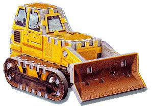 a 3d mini puzzle, bulldozer jigsaw puzz3d, wrebbit, 76 pieces bulldozer