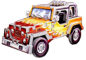 jeep 4x4 mini puzzle, wrebbit puzz3d jigsaw, flame jeep jeep4x4
