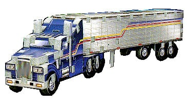 tractor trailer jigsaw puzzle, wrebbit mini puzz3d, 69 pieces tractortrailer