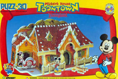 mickey's house 3d jigsaw puzzle, disneyland's mickey mouse house, rare puzz3d mickeyshouse