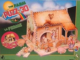 puzz-3d the farm, 55 pieces, la ferme wrebbit puzzed, jigsaw puzzle of a farm with animals thefarm