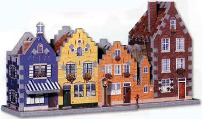 street in belgium, puzz3d wrebbit 191 pieces, rare jigsaw puzzles, 3d streetinbelgium