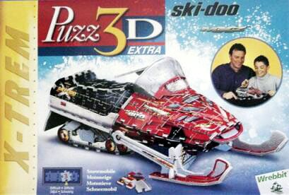 3d puzzle manufactured by wrebbit, snowmobile skidoo, 293 pieces puzzles p3d-409 snowmobileskidoo